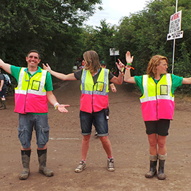 DC Site Services traffic staff working at the Glastonbury Ferstival