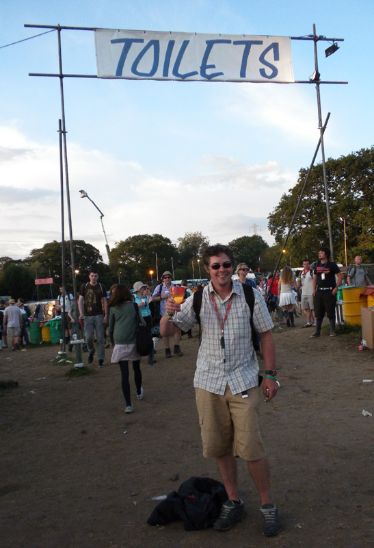 Rhys Williams keeping an eye on the toilets at Glastonbury Festival