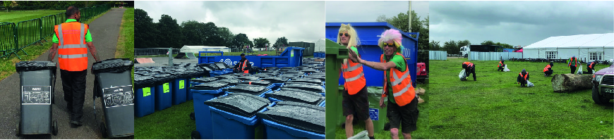 DC Site Services staff managing the litter, recycling and waste at Stone Roses in 2013
