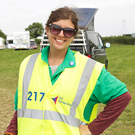 DC Site Services Traffic Management Staff parking the Glastonbury Festival campervans