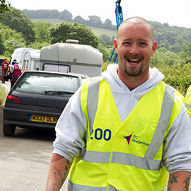 DC Site Services Traffic Management Staff working at the 2013 Glastonbury Festival