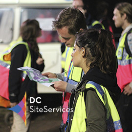 DC Site Services traffic management event staff working at Glastonbury Festival